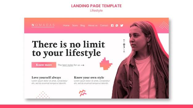 Modello di pagina di destinazione dello stile di vita alla moda