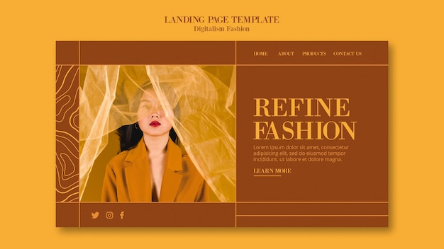 Fashion lifestyle template for landing page