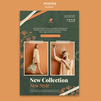 Fashion model poster template