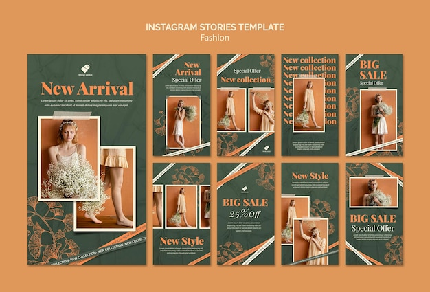 Fashion model social media stories