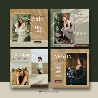 Fashion nature banner social media post template collection