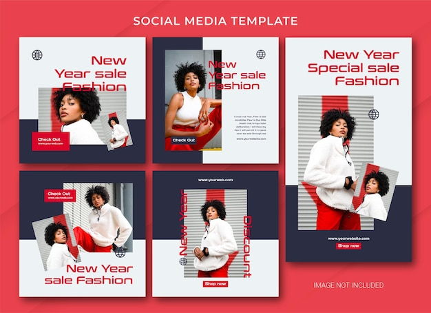 Fashion new year sale instagram post bundle template