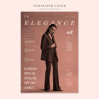Fashion newspaper cover of elegant woman standing