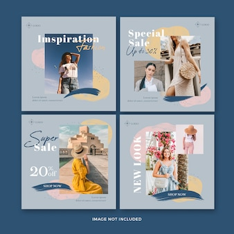 Fashion post banner collection Premium Psd