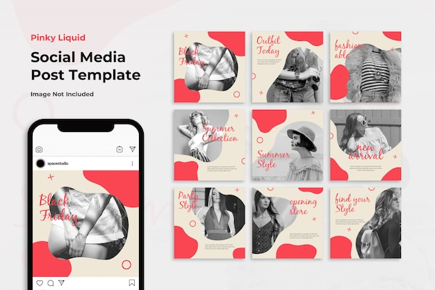 Fashion promotion liquid instagram post template set