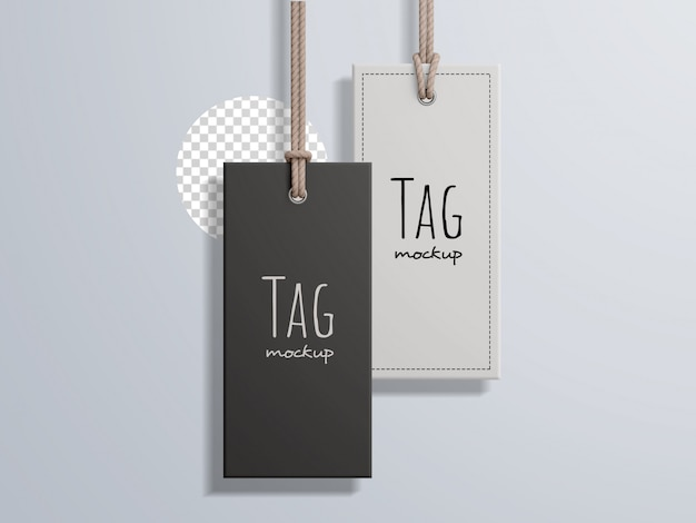 Fashion rectangular price label tag mockup