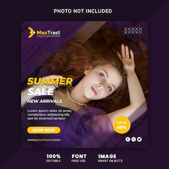 Fashion sale advertising, square instagram post template