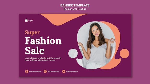 Modello web di banner di vendita di moda