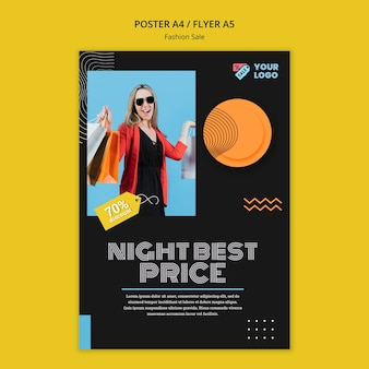 Fashion sale concept flyer template