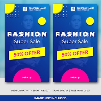 Fashion sale concept instagram stories template