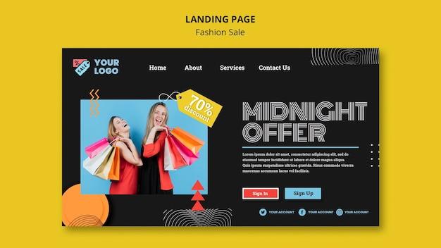 Fashion sale concept landing page template