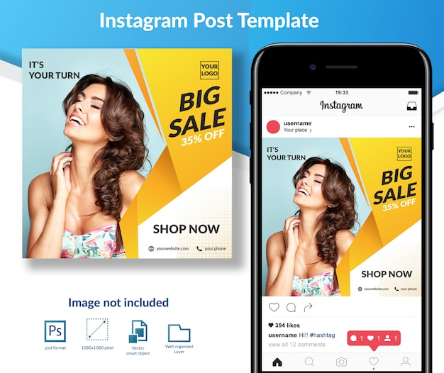 Fashion sale discount social media post template