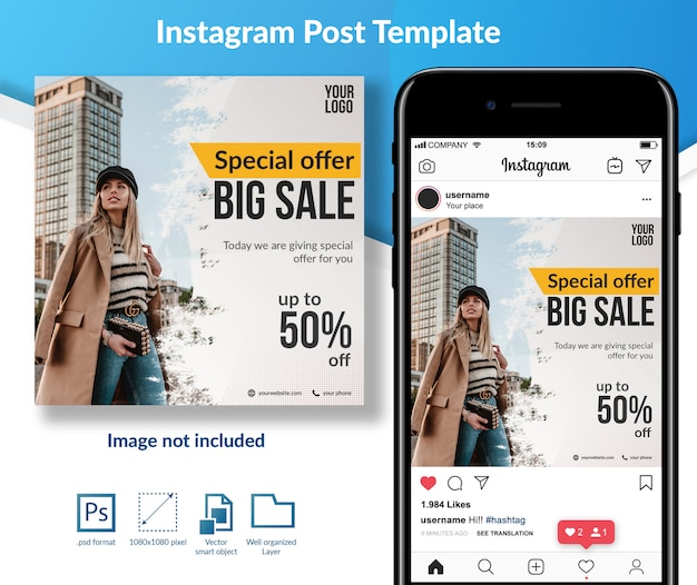 Fashion sale discount social media template