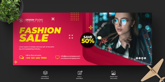 Fashion sale facebook timeline cover and banner template design