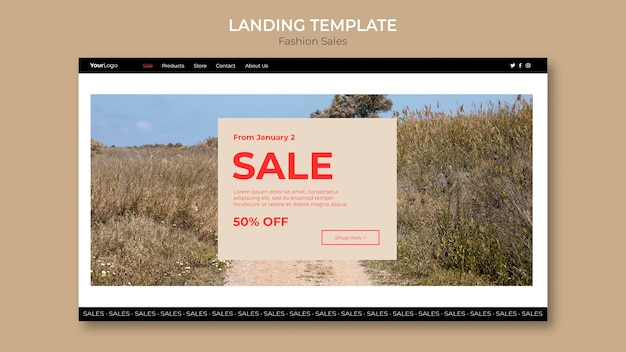 Fashion sale floral field landing page template