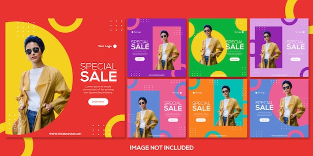 Fashion sale instagram post template collection