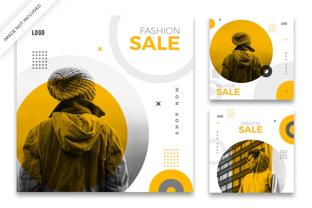 Fashion sale instagram post template pack