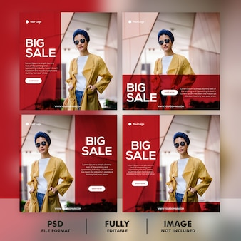 Fashion sale instagram post template set collection