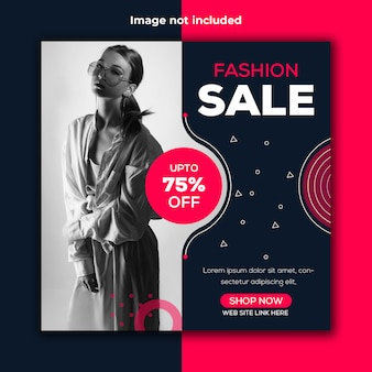 Fashion sale instagram social banner template
