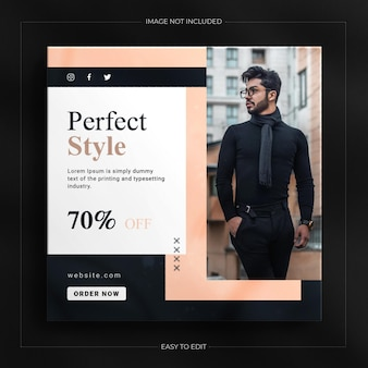 패션 판매 인스타그램 스토리 및 고급 모형이 있는 소셜 미디어 배너 템플릿