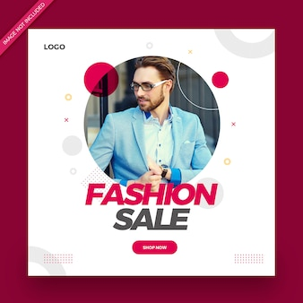 패션 판매 게시물 배너 또는 사각형 전단지