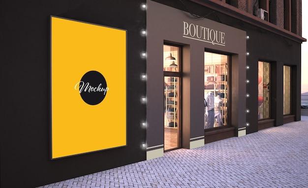 패션 스토어 3d 렌더링 모형 근처 벽에 패션 판매 포스터