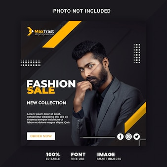 Fashion sale promotion banner for instagram post template