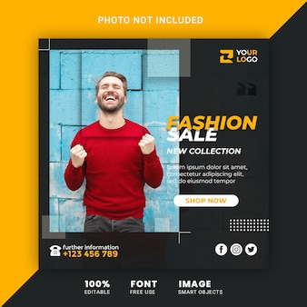 Fashion sale promotion banner for social media post template