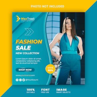 Fashion sale promotion, square instagram banner template