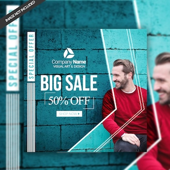 Fashion sale social banner template