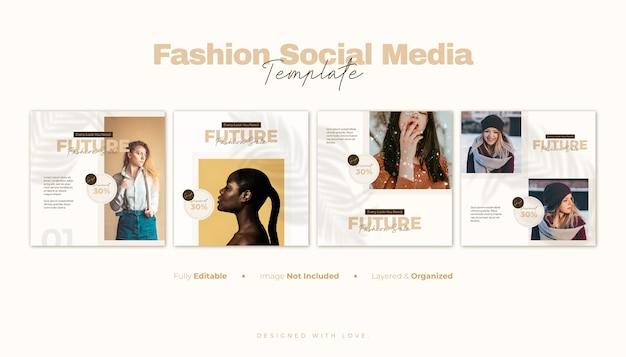 ファッションセールソーシャルメディアバナーとinstagramの投稿テンプレート