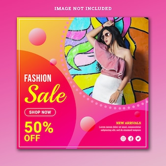 Fashion sale social media banner psd template