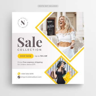 Fashion sale social media banner or square flyer template