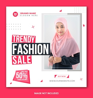Fashion sale social media instagram banner and stories template