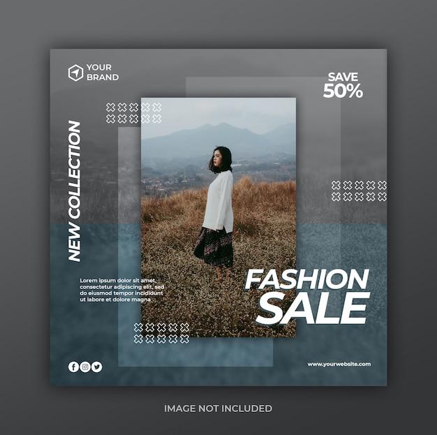 Мода продажа социальных медиа пост и квадратный веб-баннер шаблон
