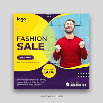 Fashion sale social media post square banner template