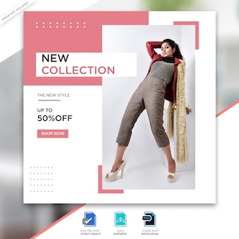 Fashion sale social media post template banner