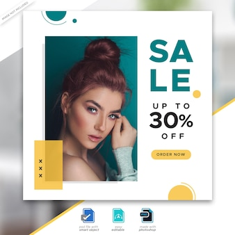 Fashion sale social media post template design