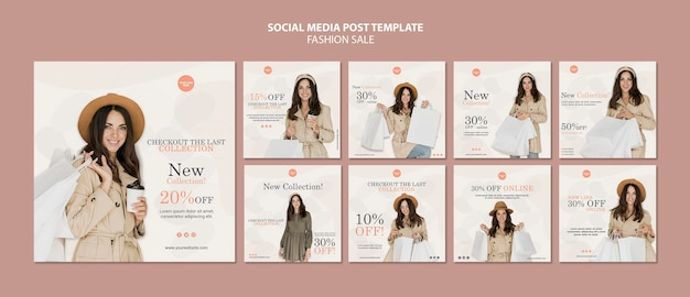 Fashion sale social media posts template