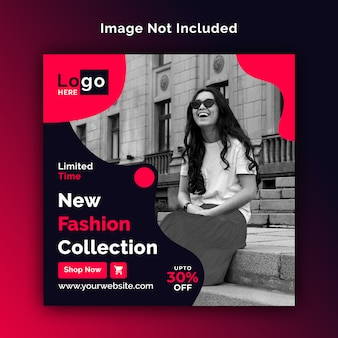 Fashion sale social media square banner psd template