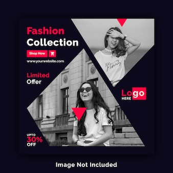 Fashion sale social media square banner template psd