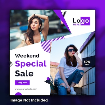 Fashion sale social media square banners template psd