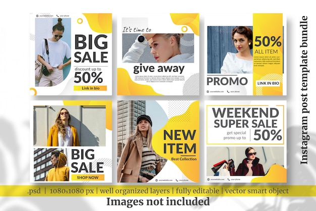 Fashion sale social media template bundle
