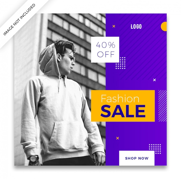 Fashion sale square banner or instagram post template design