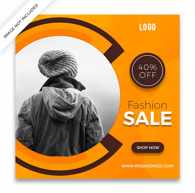 Fashion sale square banner or instagram post template design