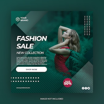 Fashion sale square banner social media post template