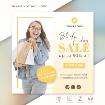 Fashion sale square banner template for instagram
