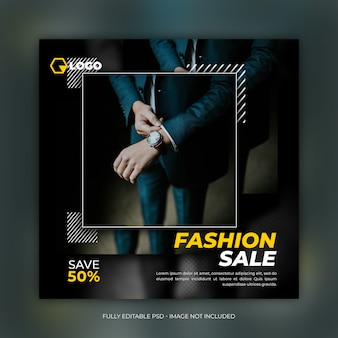 Fashion sale square banner template