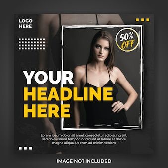 패션 판매 광장 소셜 미디어 배너 게시물