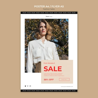 Fashion sale woman low view poster template